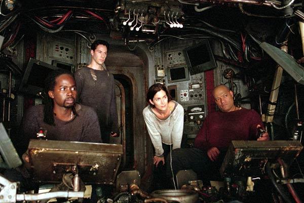 Matrix Reloaded : Foto Carrie-Anne Moss, Harold Perrineau, Keanu Reeves, Laurence Fishburne