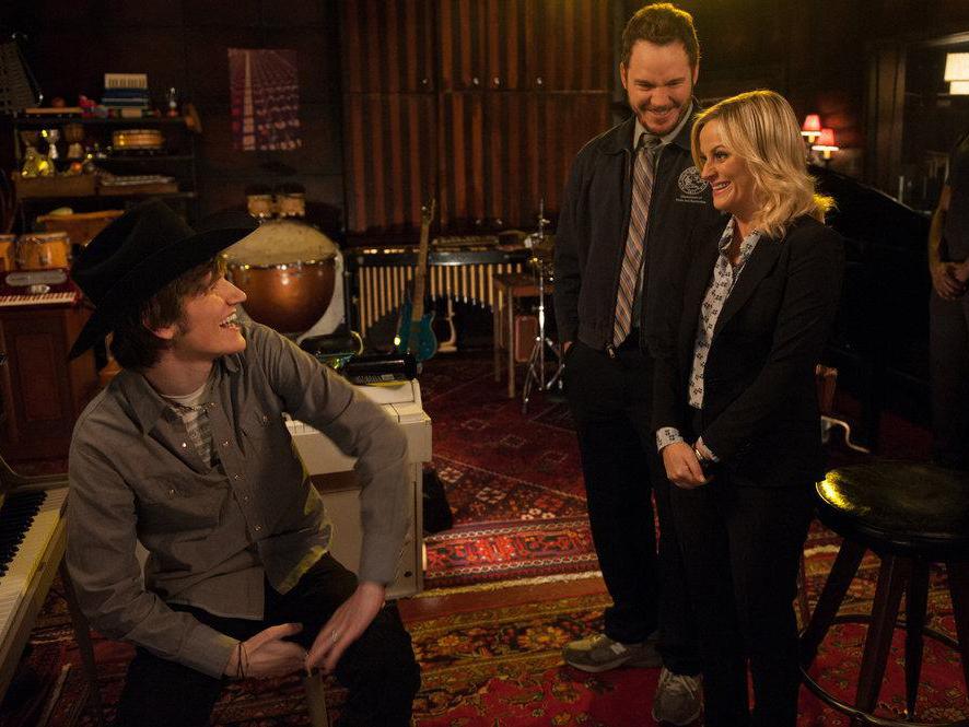 Foto Amy Poehler, Bo Burnham, Chris Pratt