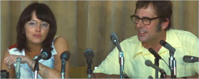 Emma Stone e Steve Carell resolvem suas diferenças na quadra de tênis em trailer de Battle of the Sexes