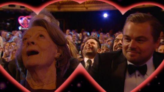 """BAFTA 2016: Leonardo DiCaprio beija Maggie Smith durante brincadeira de """"Dia dos Namorados"""""""